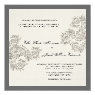 Vintage Inspired Wedding Invite Charcoal