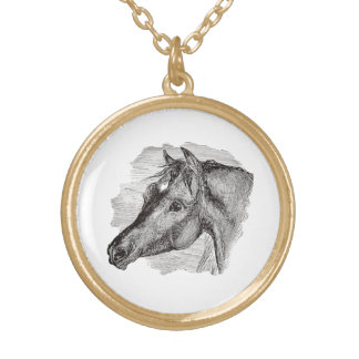 Vintage Intelligent Horse Template Gold Plated Necklace
