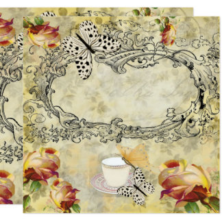 Vintage invitation cups and butterflies decoupage
