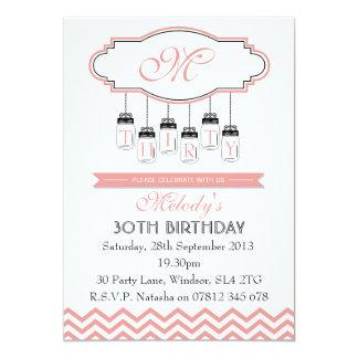 Vintage Invitation Pink Chevron 30th Birthday