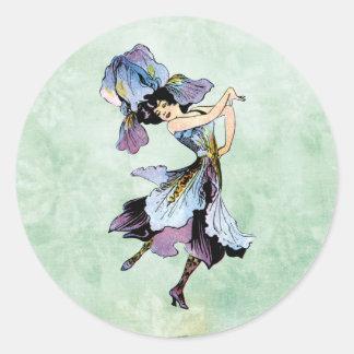 vintage iris flower fairy classic round sticker