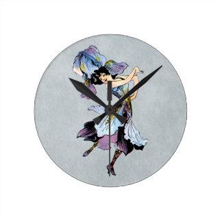 vintage iris flower fairy clock