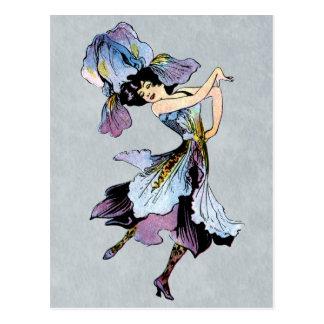 vintage iris flower fairy postcard