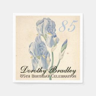 Vintage Irises 85th Birthday Party Paper Napkins