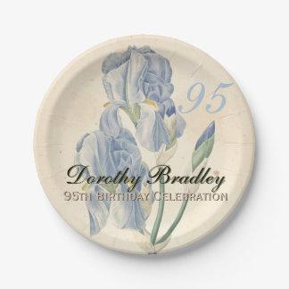 Vintage Irises 95th Birthday Party Paper Plates
