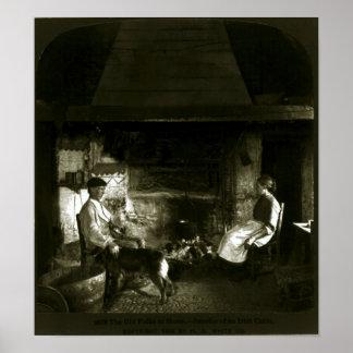 Vintage Irish Cabin Interior (1902) Poster
