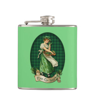 Vintage Irish Colleen Hip Flask