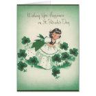 Vintage Irish Girl and Shamrocks St. Patrick's Day Card