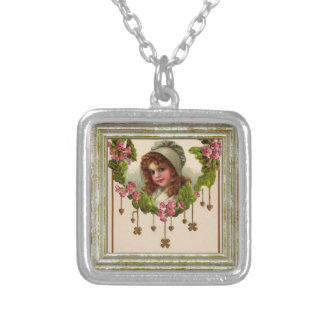 Vintage Irish Girl Silver Plated Necklace