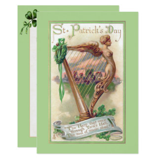 Vintage Irish Harp St. Patrick's Day Card