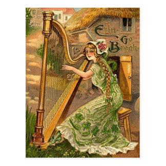 Vintage Irish Harp St. Patrick's Day Postcard