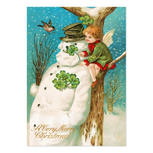 Vintage Irish Snowman Name Tags Business Cards