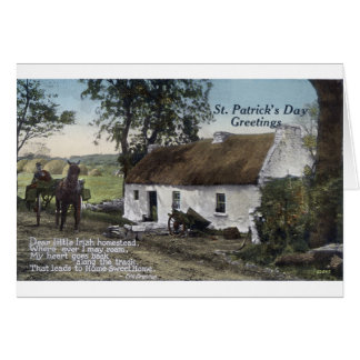 Vintage Irish thatched cottage St. Patricks Day Card
