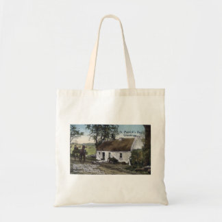 Vintage Irish thatched cottage St. Patricks Day Tote Bag
