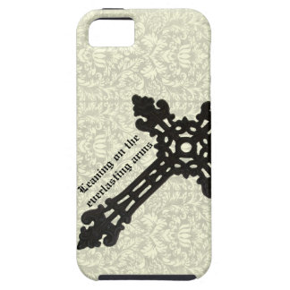 Vintage Iron Christian Cross on Damask Case For The iPhone 5