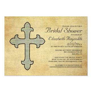 Vintage Iron Cross Bridal Shower Invitations