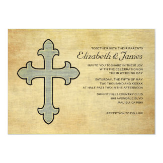Vintage Iron Cross Wedding Invitations