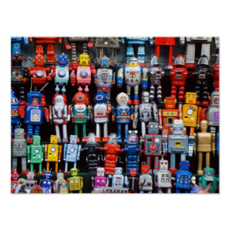 Vintage iron tin toy robot collection poster
