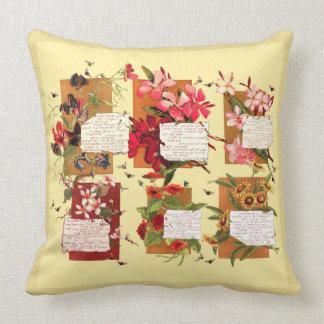 Vintage Island Flowers Bermuda Floral Poetry Throw Pillow