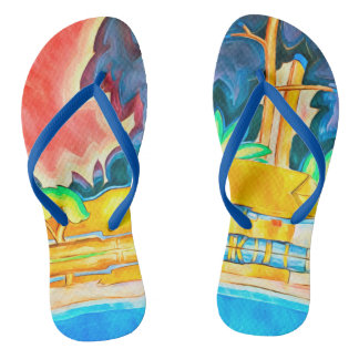 Vintage Island Tropic Abstract Colorful Painting Flip Flops
