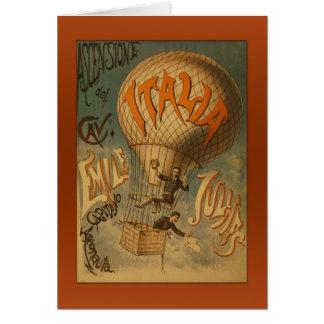 Vintage Italia Hot Air Balloon Greetings Card