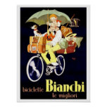 Vintage Italian Bianchi Bicycle Ad Poster