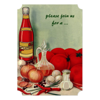Vintage Italian Food, Tomato Onion Cooking Party Card
