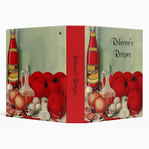 Vintage Italian Food Tomato Onions Peppers Catsup 3 Ring Binders