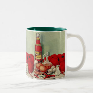 Vintage Italian Food Tomato Onions Peppers Catsup Two-Tone Mug