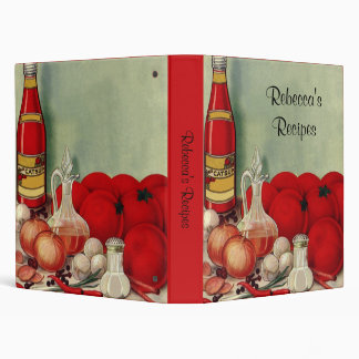 Vintage Italian Food Tomato Onions Peppers Catsup Vinyl Binder