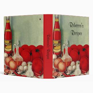 Vintage Italian Food Tomato Onions Peppers Catsup Vinyl Binder