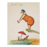 Vintage Italian humour, Fat lady Diving Print