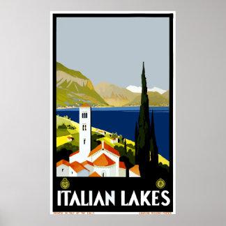 Vintage Italian Lakes Travel Poster