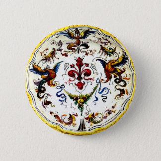 Vintage Italian Majolica Pottery Art Antique 2 Inch Round Button