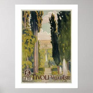 Vintage Italian travel ad Tivoli Lazio Rome Poster