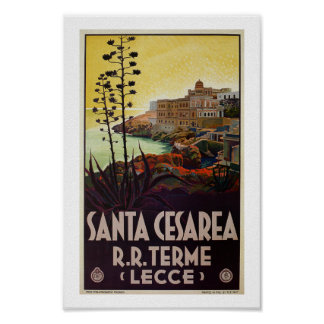 Vintage Italian travel Santa Cesarea Terme Lecce Poster