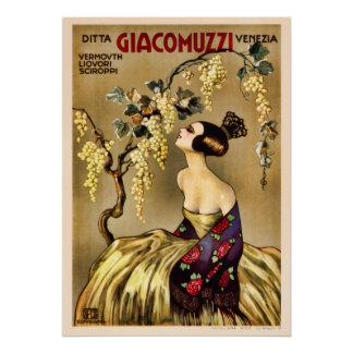 Vintage Italian Wine Vermouth Advertisement Poster