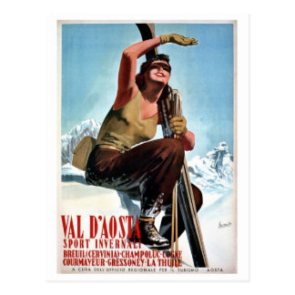 Vintage Italian winter sports ski travel ad Postcard