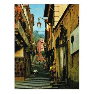 Vintage Italy Bellagio Street of steps Postcard