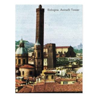 Vintage Italy, Bologna, Asinelli Tower Postcard