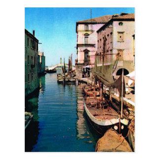 Vintage Italy, Chioggia, Vana Canal Postcard