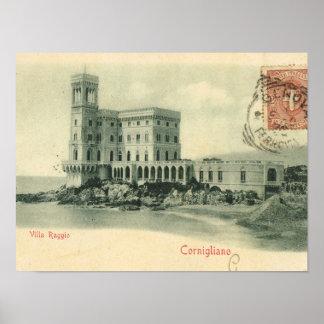 Vintage Italy, Cornigliano, Villa Raggio Poster