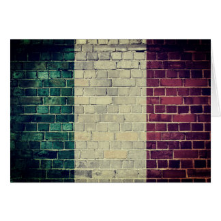 Vintage Italy flag on a brick wall Card