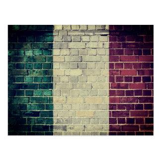 Vintage Italy flag on a brick wall Postcard