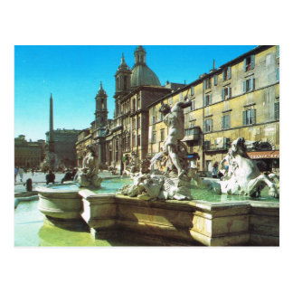 Vintage Italy,  Rome, Piazza Navonna Postcard