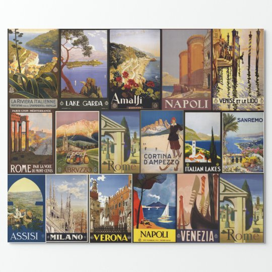 Vintage Italy Travel Poster Collage gift wrap
