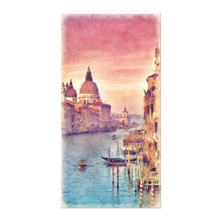 Vintage Italy Venice Canal Watercolor Painting Stretched Canvas Print