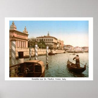 Vintage Italy, Venice Gondola at  Mark's Basilica Poster