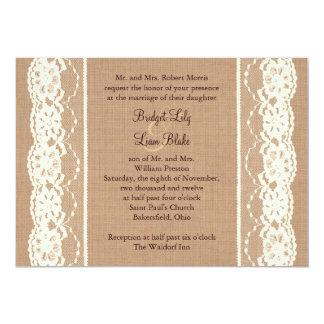 Vintage Ivory Lace and Medium Burlap Invitation