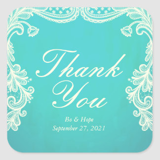Vintage Ivory & Mint Lace Thank You Stickers